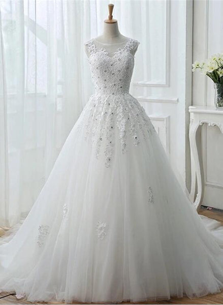 White Tulle Lace Wedding Gowns, Pretty Sweet 16 Dresses, White Prom Dresses