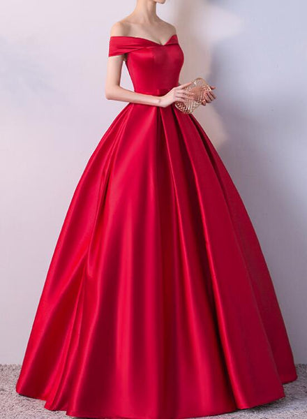 Red Gorgeous Satin Off Shoulder Prom Gown, Red Party Dresses, Formal Dresses