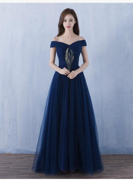 Beautiful Navy Blue Off Shoulder Tulle Formal Dress, Lovely Party Dresses 2019