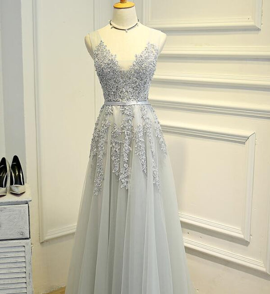 Light Grey Tulle V-neckline Long Party Gown, Charming Formal Dress