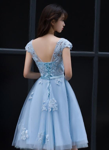 Cute Blue Homecoming Dress, Lovely Knee Length Party Dress