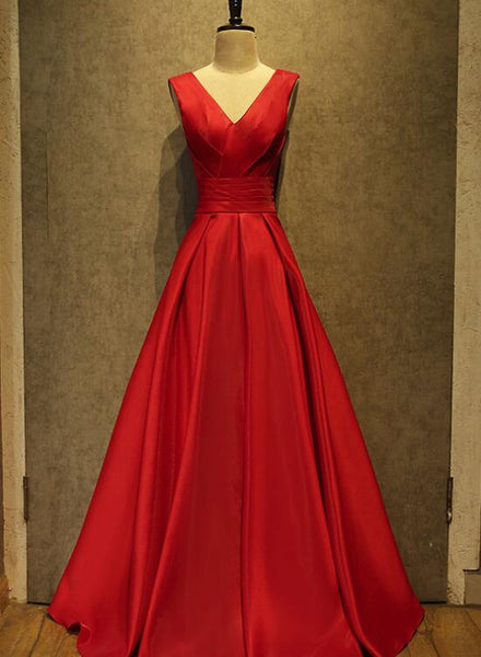 High Quality Red Satin Floor Length Women Formal Dress, Red V-neckline Prom Dress, Red Party Gowns
