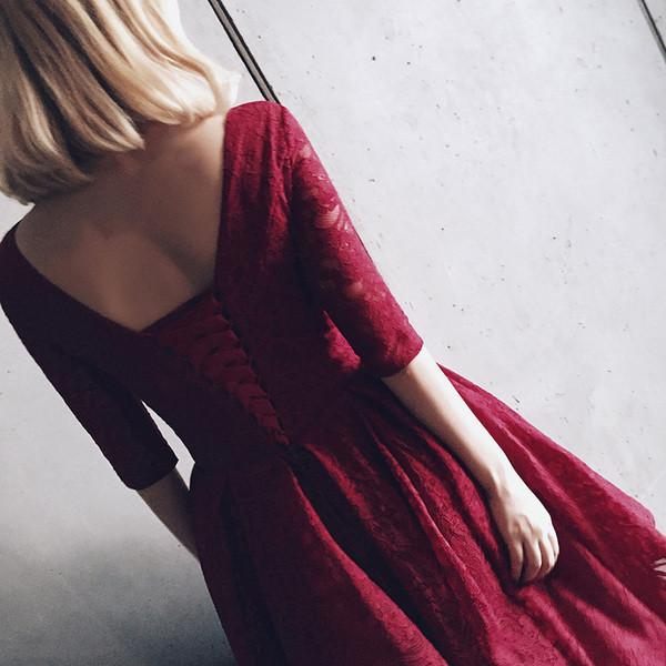 Lovely V Neck Half Sleeves Wine Red Lace Homecoming Dress, Tea Length Prom Dress 2020