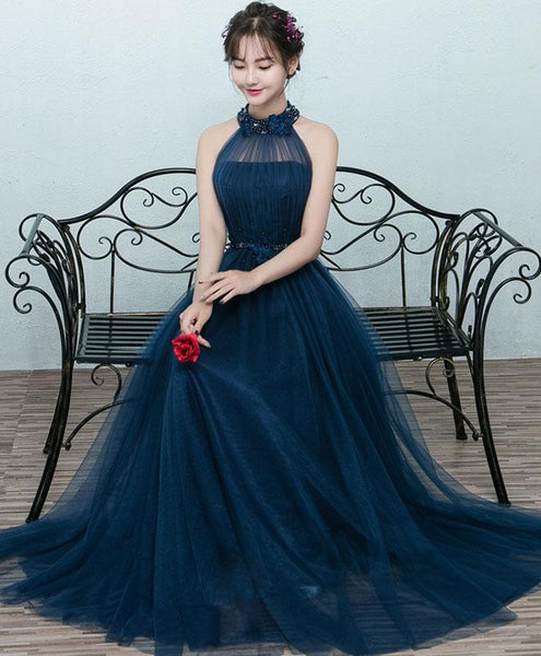Beautiful Navy Blue Halter Tulle Prom Dress 2019, Blue Long Formal Gown
