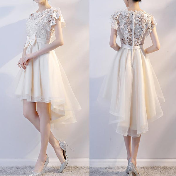 Lovely Champagne Tulle High Low Party Dress, Cute Lace Homecoming Dress with Bow