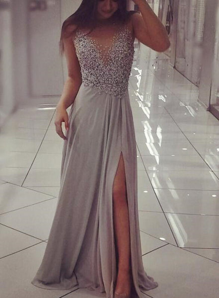 Sexy Chiffon Grey Beaded Slit Long Prom Dresses 2018, Long Formal Dresses, Wedding Party Dresses