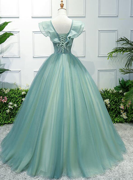 Charming Green Off Shoulder Ball Gown Party Dress, Sweet 6 Dress