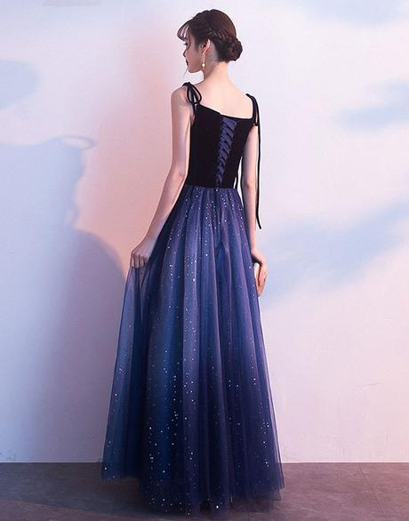 Blue Tulle with Velvet Straps Long Party Dress, Gorgeous Formal Gown