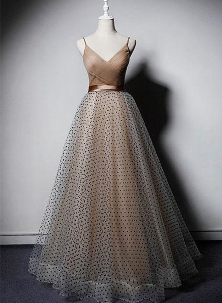 champagne long tulle prom dress 2020