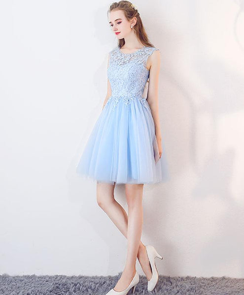 Light Blue Tulle Round Neckline Lace Cute Party Dresses, Short Formal Dress, Graduation Dresses