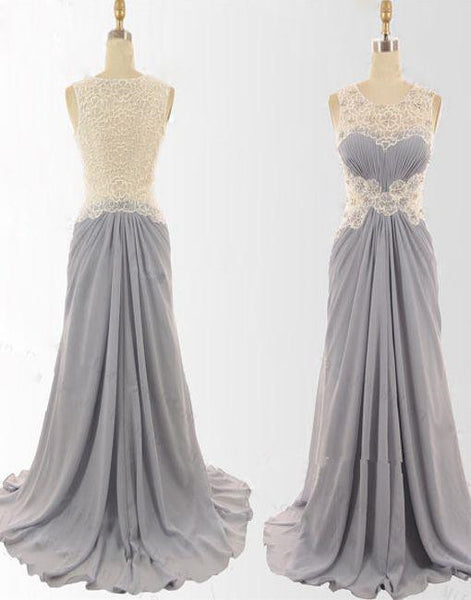Grey Lace And Chiffon Long Wedding Party Dress, Grey Floor Length Prom Dresses