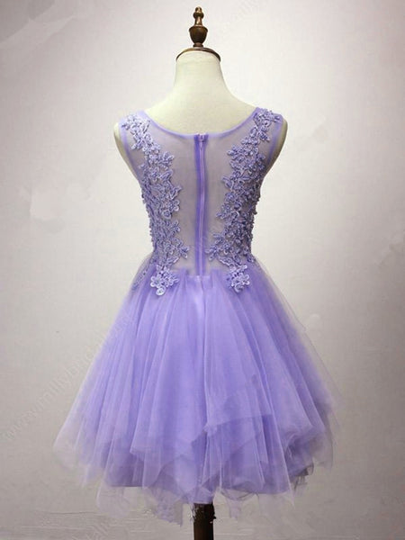 Lovely Tulle Short Layers Round Neckline Homecoming Dress with Lace, Cute Formal Dress 2019
