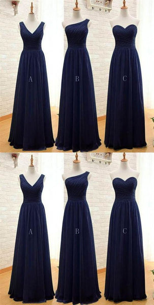 Pretty Mismatch Navy Blue Bridesmaid Dress, Long Bridesmaid Dress 2019