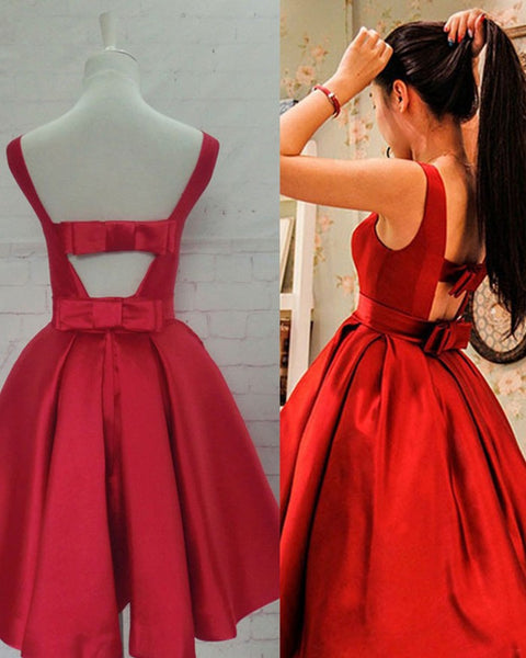 Red Homecoming Dress with Bow, Lovely Party Dresses, Formal Dresses