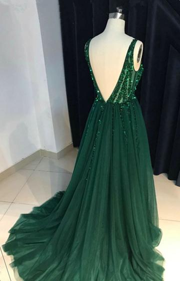 Tulle Dark Green Sparkly Sequins Beaded V-neck Prom Dresess, Green Evening Gowns, Women Formal Dresses