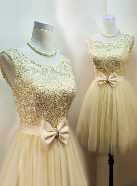Light Champagne Tulle and Lace Cute Homecoming Dresses, Junior Prom Dress, Sweet 16 Dresses