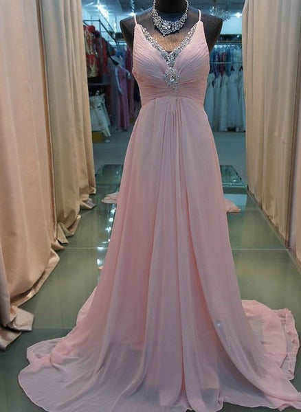 Lovely Chiffon Pink Prom Dresses, Straps Pink Party Dresses, Pink Formal Dresses 2018