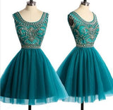 Hunter Green Tulle Knee Length Beaded Homecoming Dresses, Cute Graduation Party Dress, Short Prom Dress