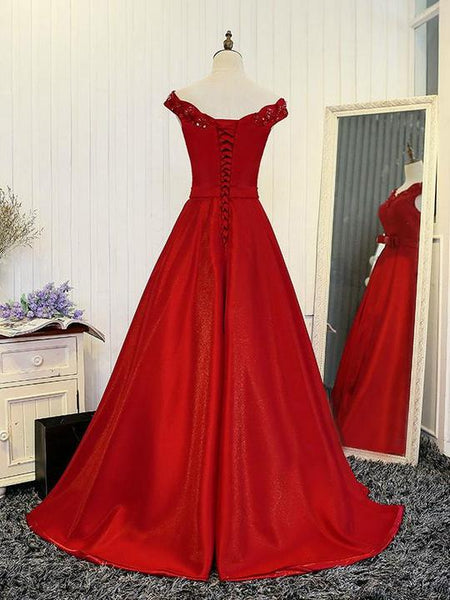 Beautiful Red Satin Long Evening Formal Dress, Prom Gown 2019
