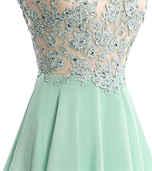 Cute Lace Applique Knee Length Round Neckline Party Dress, Short Prom Dress