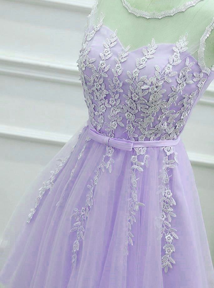 426fa16ac19 Lovely Tulle Round Neckline Applique Purple Party Dress