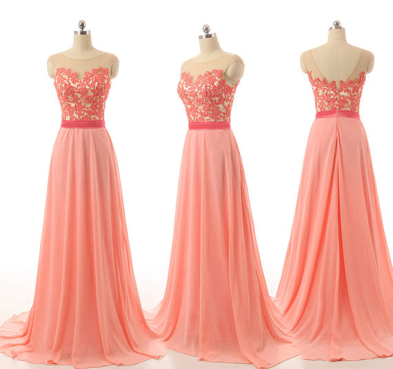 Peach Pink Chiffon and Lace Long Bridesmaid Dresses, Simple Bridesmaid Dresses 2k18, Long Formal Gowns