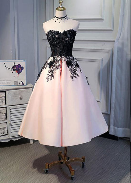 Cute Pearl Pink Tea Length Satin with Lace Applique Party Dress, Homecoming Dress