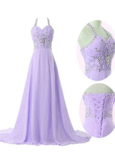 Lavender Chiffon Long Formal Gowns, Halter Beaded Prom Dresses 2019, Handmade Formal Dresses