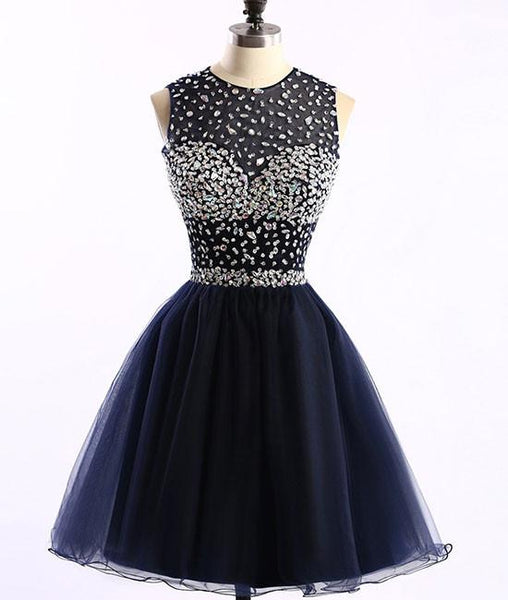 Navy Blue Sparkle Beaded Homecoming Dresses, Round Neckline Party Dress, Short Prom Dresses