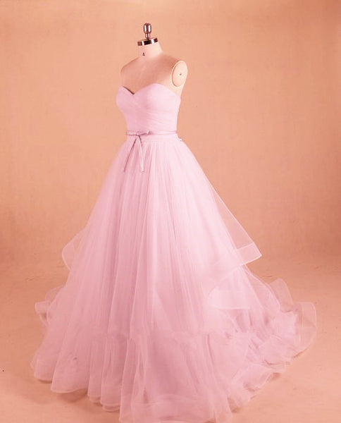 Light Pink Sweet 16 Dress, Pink Tulle Sweetheart Long Party Dress, Pink Gowns