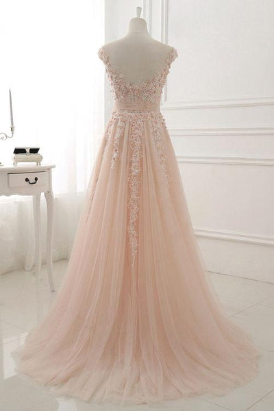 Pink Lace and Tulle Elegant A-line Floor Length Wedding Party Dress, Soft Pink Party Dress, Formal Dresses