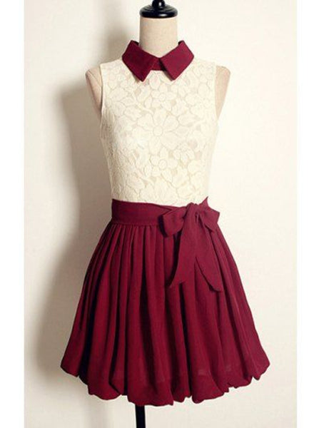 wine red lace and chiffon dress
