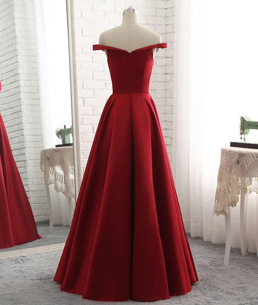 Off Shoulder Wine Red Long Prom Dress 2018, Formal Gowns, Prom Dress 2018