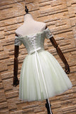 Light Green Short Tulle Party Dress, Lace-up Homecoming Dress, Cute Dress