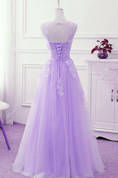 Charming Lavender Tulle Bridesmaid Dress with Lace Applique, Beautiful Junior Prom Dress 2019