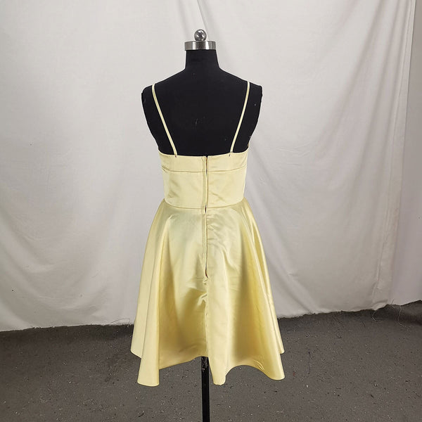Cute Satin Straps Knee Length Party Dress, Light Yellow Homecoming Dress 2019