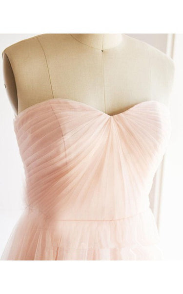 Light Pink Tulle Long Bridesmaid Dresses, Elegant Simple Party Dress, Pink Gown