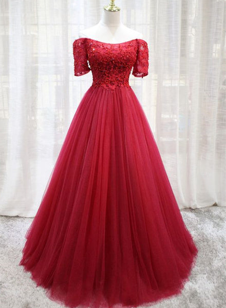 Lovely Short Sleeves Tulle Prom Dress 2019, Wine Red Long Party Dress