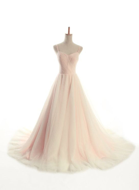 Charming Straps Light Pink Gown, Sweetheart Tulle Gowns, Pink Prom ...