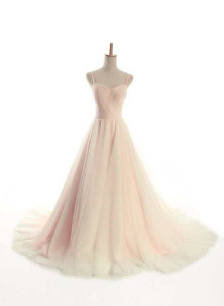 Charming Straps Light Pink Gown, Sweetheart Tulle Gowns, Pink Prom Dresses