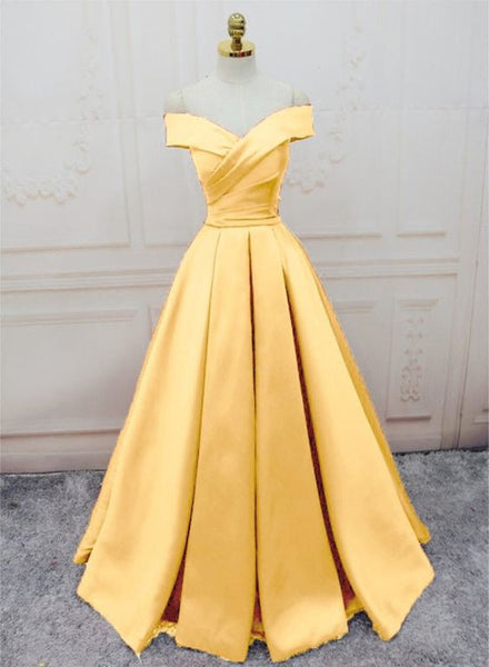 yellow satin off shoulder gown