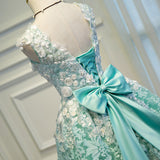 Lovely Green Lace with Floral Party Dress, Cute Short Prom Dress