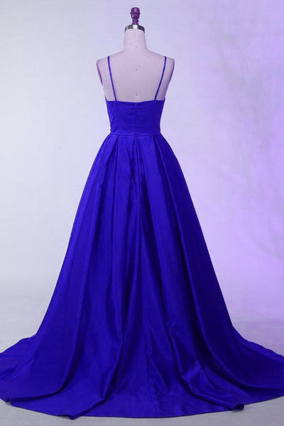 Royal Blue Satin Long Party Dress, Blue Formal Dress, Blue Party Gowns