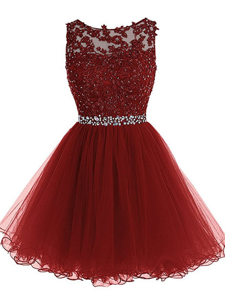 Wine Red Tulle Homecoming Dresses, Short Prom Dresses 2018, Party Dresses