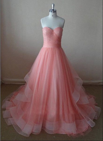 Soft Pink Tulle Sweetheart Prom Gown, Pink Prom Dress, Junior Party Dress