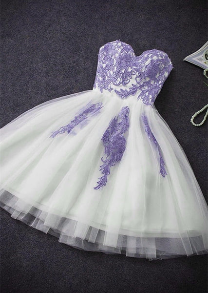 Cute Simple Tulle with Lace Applique Short Party Dress, Lovely Formal Dress 2020