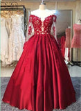Glam Red Off Shoulder Long Sleeves Satin Prom Gown with Applique, Charming Junior Prom Dress
