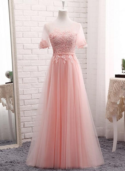 Cute Tulle and Lace Long Party Dress, A-line Tulle Short Sleeves Bridesmaid Dress
