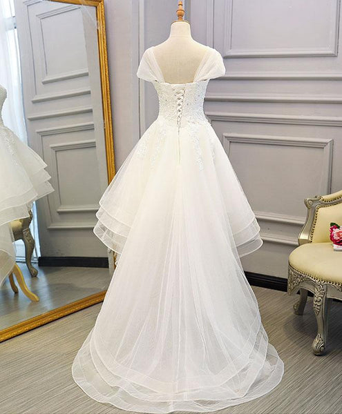 Beautiful Cap Sleeves High Low Layers Tulle Wedding Dress, Simple Prom Dress