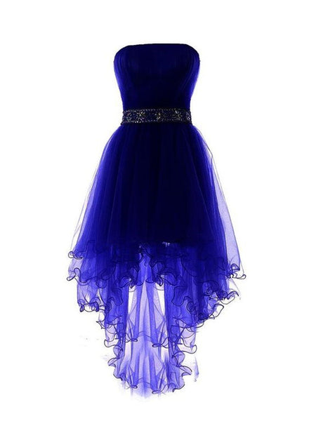 Royal Blue Tulle High Low Scoop Homecoming Dresses, Blue Party Dress,High Low Formal Dress